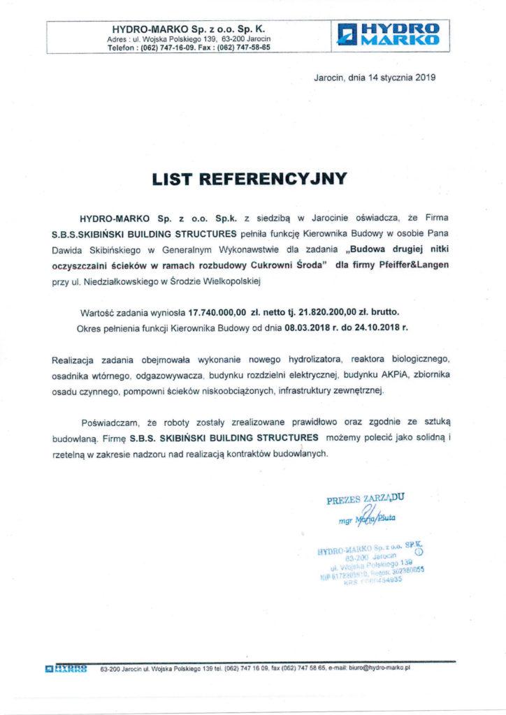 LIST REFERENCYJNY OD FIRMY HYDRO-MARKO SP. Z O.O. SP. K.